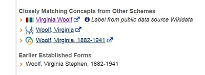 An example of id.loc.gov links for Virginia Woolf