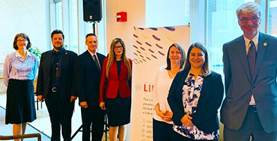 "ALA President Loida Garcia-Febo (center) with other speakers at the ""Sustainable Development Goals in Libraries Today"" event May 23 at the UN Library"
