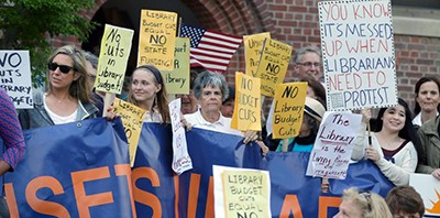 Narragansett library supporters outside the May 20 town council meeting. Photo by Kris Craig / Providence Journal