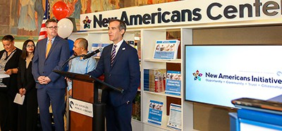 """Los Angeles Public Library created """"The New Americans Initiative"""" and identified the key themes of opportunity, community, trust and citizenship to connect with immigrant communities and to drive awareness in the greater Los Angeles area"""