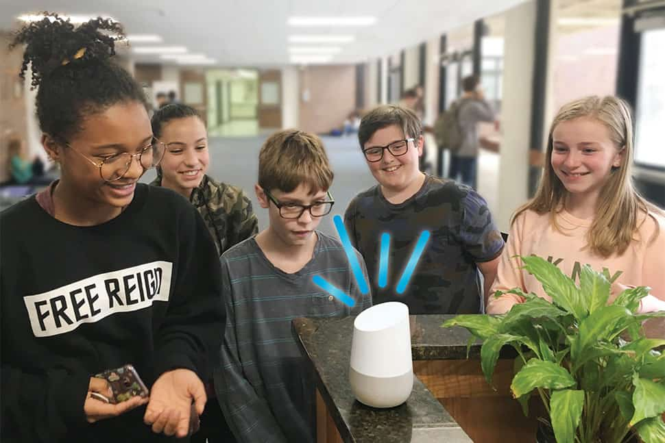 Students at North Salem (N.Y.) Middle School and High School interact with a Google Home smart speaker. (Photo: North Salem (N.Y.) Middle School and High School)