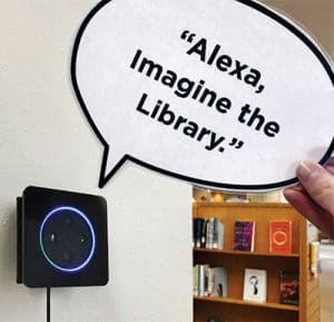 Spokane (Wash.) Public Library installed Echo Dots around the building so users could ask about the library's upcoming bond election. Photo: Spokane (Wash.) Public Library