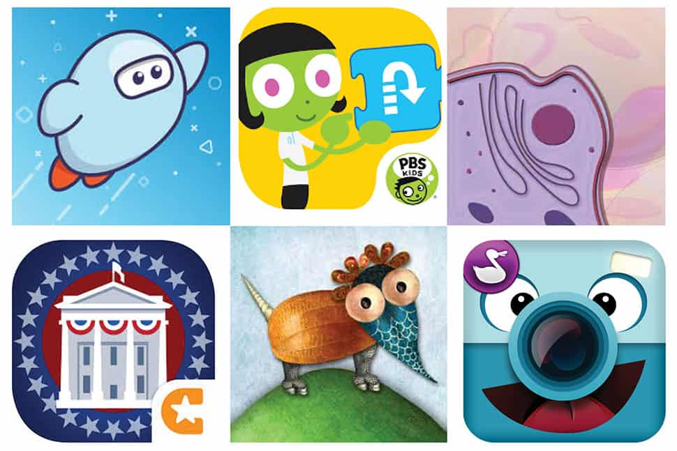 Clockwise from top left, logos for Sora, PBS Kids Scratch Jr., iCell, Chatterpix Kids, Mixerpiece, and iCivics Suite.