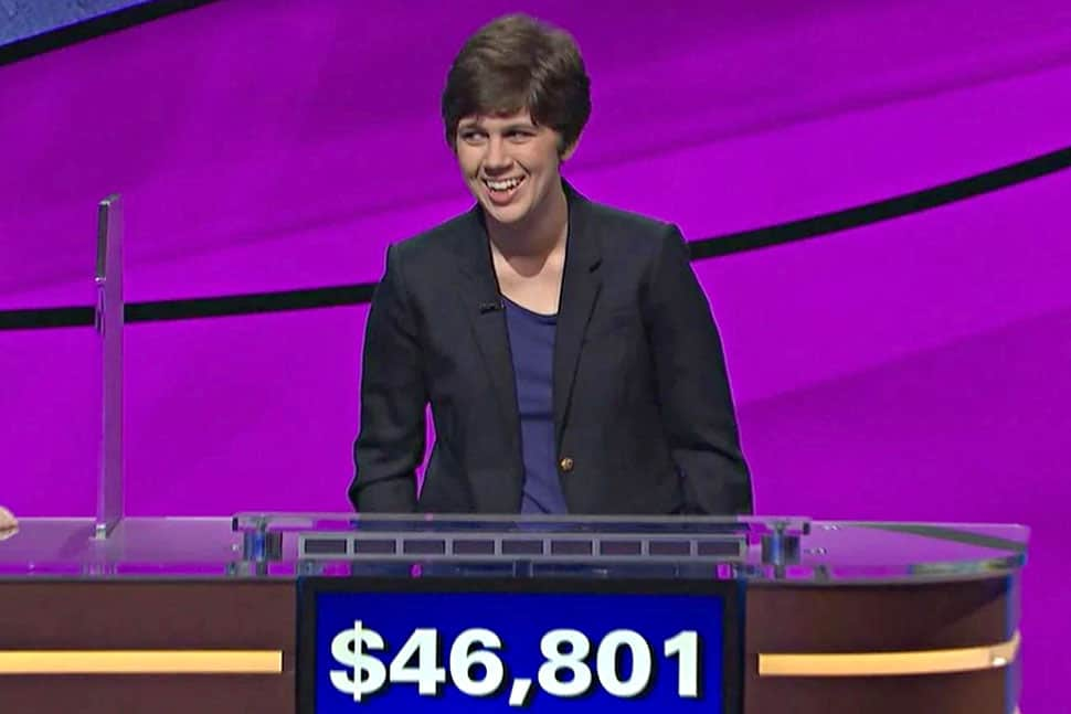 Emma Boettcher after her first Jeopardy! win on June 3.