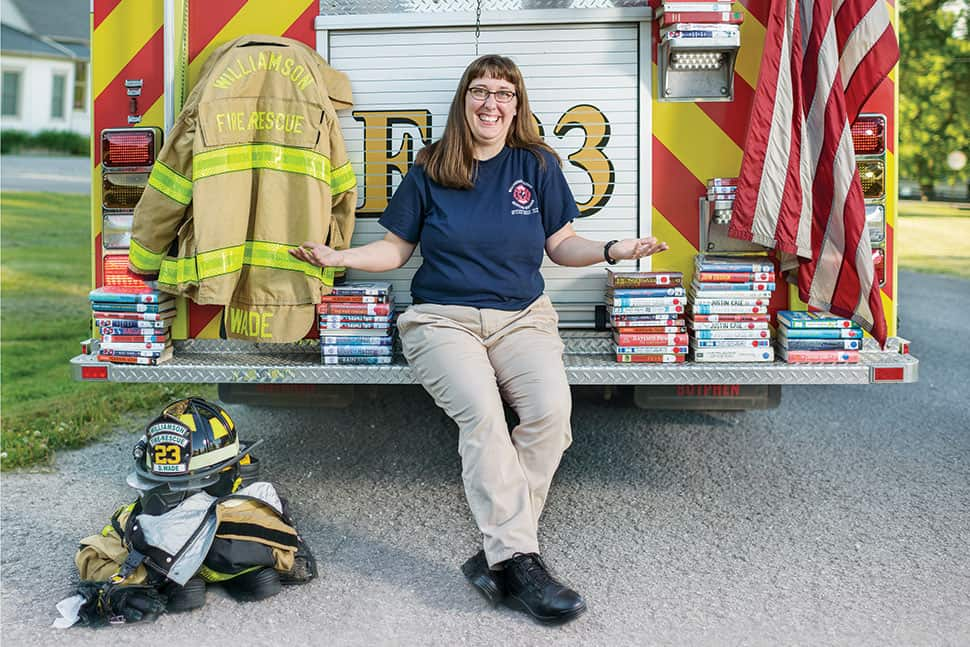 School librarian and volunteer firefighter Dinah Wade