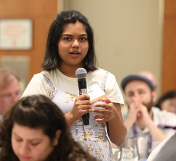 Darshni Patel, an intern at Piscataway (N.J.) Public Library, asks a question at the kickoff. Photo: Tori Soper