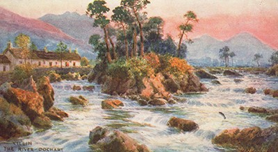 Postcard of the River Dochart, Perthshire, Scotland. A Raphael Tuck oilette by landscape artist Henry B. Wimbush