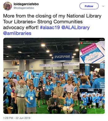 More from the closing of my National Library Tour Libraries=Strong Communities advocacy effort!