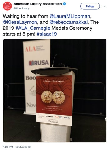 Waiting to hear from @LauraMLippman, @KieseLaymon, and @rebeccamakkai. The 2019 #ALA_Carnegie Medals Ceremony starts at 8 pm!
