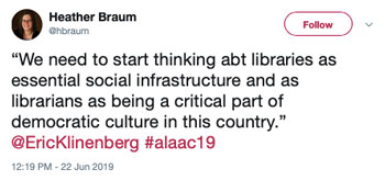 """We need to start thinking abt libraries as essential social infrastructure and as librarians as being part of democratic culture in this country."""