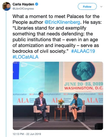 "What a moment to meet Palaces for the People author @EricKlinenberg. He says: ""Libraries stand for and exemplify something that needs defending: the public institutions that — even in an age of atomization and inequality —serve as bedrocks of civic society."""