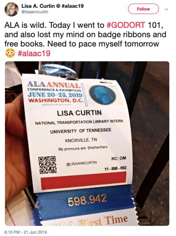 ALA is wild. Today I went to #GODORT 101, and also lost my mind on badge ribbons and free books. Need to pace myself tomorrow. #alaac19