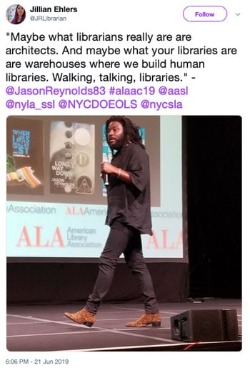 """""""Maybe what librarians really are are architects. And maybe what your libraries are are warehouses where we build human libraries. Walking, talking, libraries."""""""