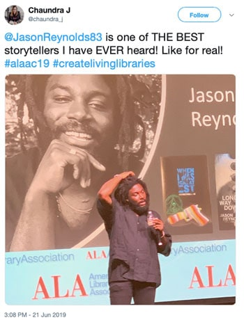 @JasonReynolds83 is one of THE BEST storytellers I have EVER heard! Like for real!