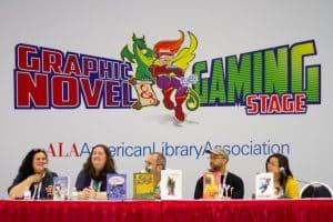Julia Billet and her translator, Wilfrid Lupano, Ezra Claytan Daniels, and Amy Chu