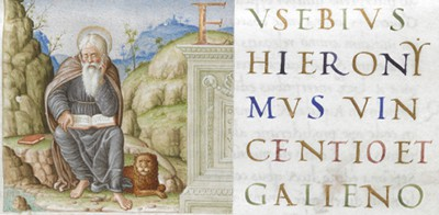Jerome and the lion, from his translation of Eusebius of Caesarea, Chronici canones: Rome, ca. 1485–1488: Royal MS 14 C III, f. 2r
