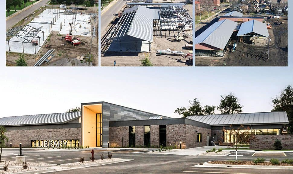 K. O. Lee Aberdeen (S.Dak.) Public Library, from framing to final product. Photos: K. O. Lee Aberdeen Public Library (top three); Spencer Sommer/MSR (bottom)