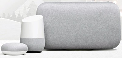 The Google Home Mini, the original Google Home, and the Google Home Max