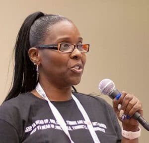 Joquetta Johnson addresses the 2019 Annual Conference