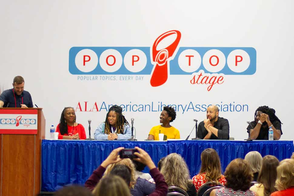 From left: Phil Morehart, Ekua Holmes, Angie Thomas, Jacqueline Woodson, Christopher Myers, and Jason Reynolds at the 2019 ALA Annual Conference in Washington, D.C.