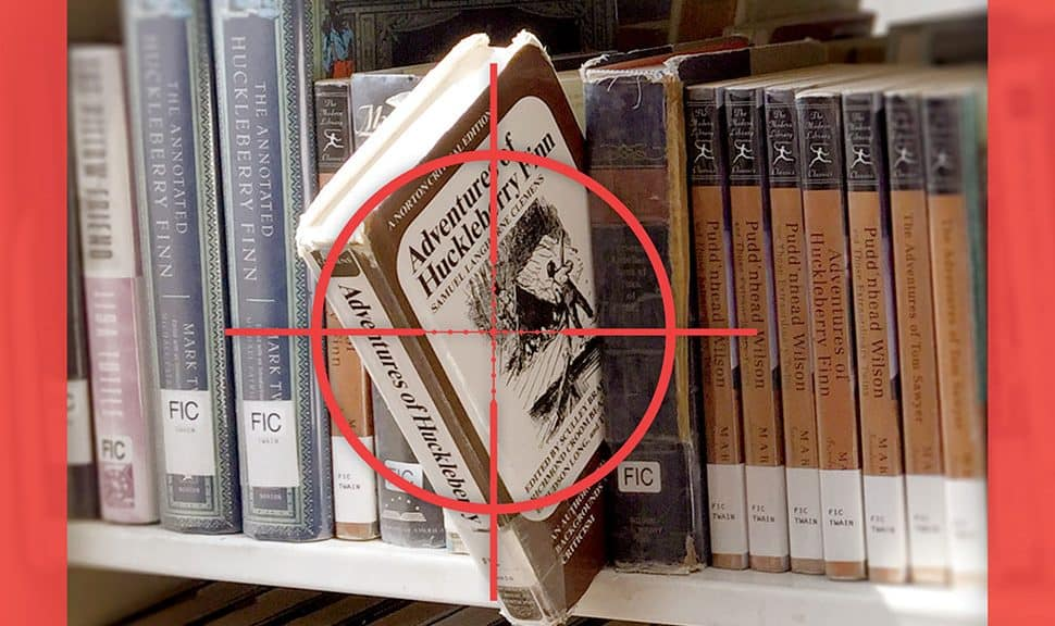 Adventures of Huckleberry Finn on a bookshelf in a target
