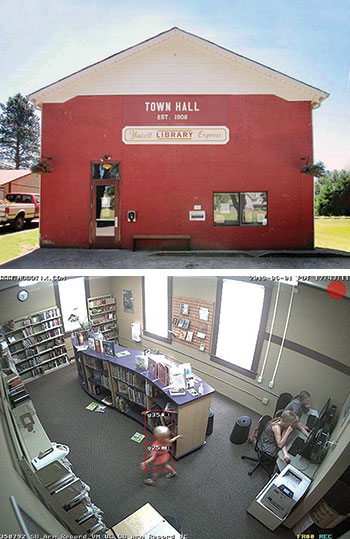 Fort Vancouver Regional Libraries' Yacolt (Wash.) Library Express lives in a former town hall building; security footage of the mostly unstaffed Yacolt branch. (Photos: Fort Vancouver Regional Libraries )