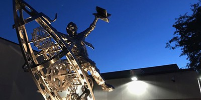 A statute honoring Ray Bradbury was unveiled outside the Waukegan Public Library just after sunset on August 22, the 99th anniversary of the late author's birth. Photo by Dan Moran / Lake County News-Sun