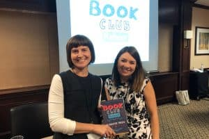 Presenters Sarah Ostman (left) and Stephanie Saba, authors of Book Club Reboot: 71 Creative Twists (ALA Editions, 2019)
