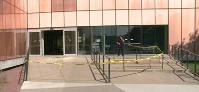 Des Moines (Iowa) Public Library entrance cordoned off