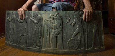 At about 5 feet long, 2 feet tall, and more than an inch thick, the lost Lee Lawrie panel depicts six ancient scribes from different cultures, symbolizing the history of writing