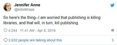 Jennifer Rothschild tweet on ebook pricing