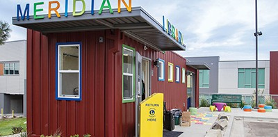 Meridian (Idaho) Library District's Tiny Library was built from a recycled shipping container. Photo by Macey Snelson / Meridian (Idaho) Library District