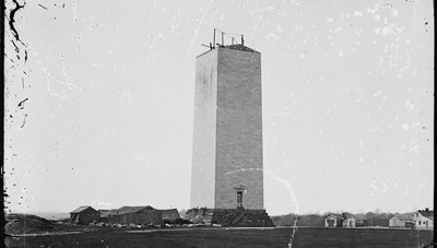 Washington Monument as it stood for 25 years. Photo by Mathew M. Brady, circa 1870.