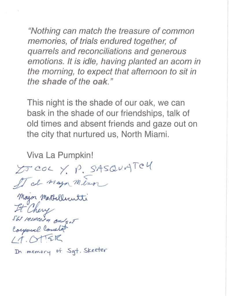 50th anniversary letter, signed by members of Coxie's Army