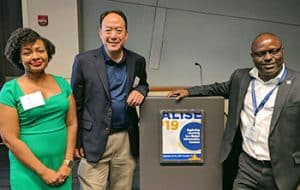 ALISE presenters (from left) LaTesha Velez, Anthony Chow, and Dick Kawooya (Photo: IFLA)