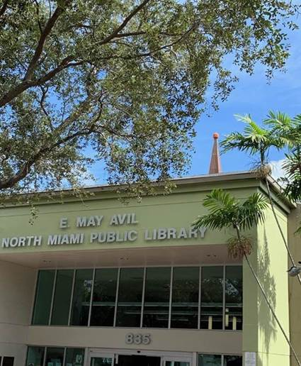The North Miami (Fla.) Public Library steeple with pumpkin placed by Coxie's Army. Photo: North Miami Public Library