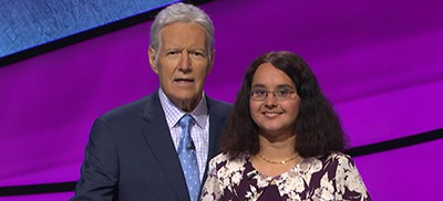 Jessica Garsed, of Augusta, Maine, with Jeopardy! host Alex Trebek