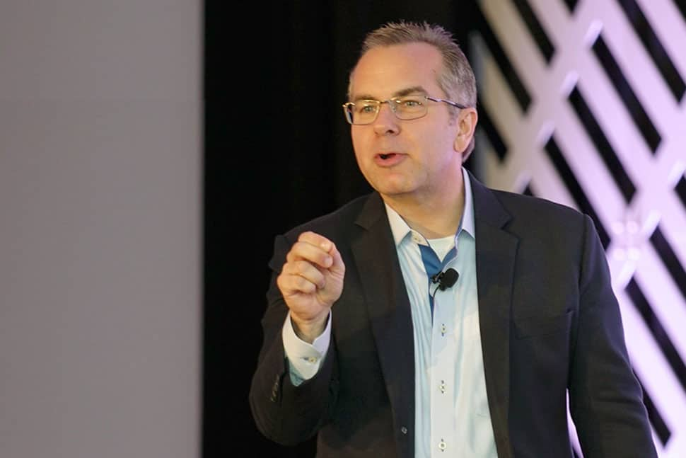 OCLC President and CEO Skip Prichard addresses the crowd at the 2019 Library Futures Conference in Phoenix October 2. (Photo: OCLC)