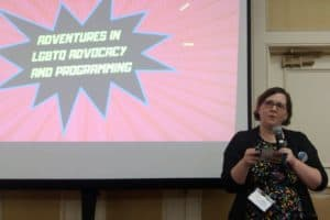 Melinda Mathis, teen services librarian for Napa County (Calif.) Library, speaks at the YALSA Symposium in Memphis, Tennessee, November 2.
