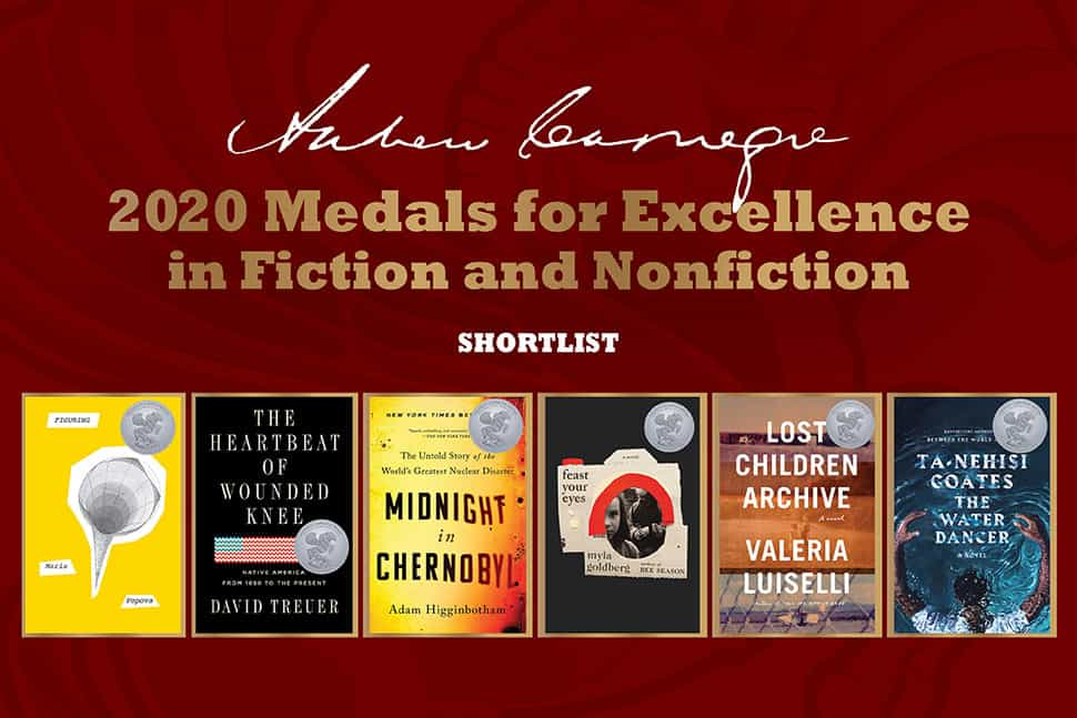 Covers for the 2020 Andrew Carnegie Medals for Excellence in Fiction and Nonfiction