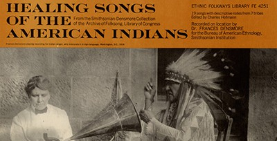 A 1965 album cover featuring anthropologist Frances Densmore and Mountain Chief (Ninastoko), chief of the Blackfoot people