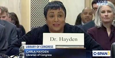 Librarian of Congress Carla Hayden at Senate hearing.