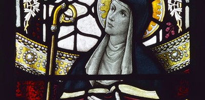 Stained-glass image of Leoba, an English missionary and abbess of Tauberbischofsheim in Franconia who died in 782