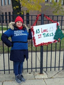 Curie High School librarian Emily Porter on the picket line during the recent CTU strike.