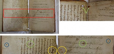Areas of physical damage on two fragments of Euripides perfectly match the stains and holes present on a Euripides codex