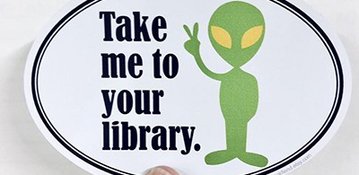 Take me to your library sticker