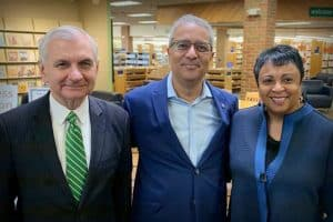 From left: Sen. Jack Reed (D-R.I.), Cranston (R.I.) Public Library Director Ed Garcia, and Librarian of Congress Carla Hayden at Cranston Public Library. Photo: Ed Garcia