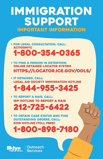 Poster with emergency numbers designed for Brooklyn (N.Y.) Public Library branches