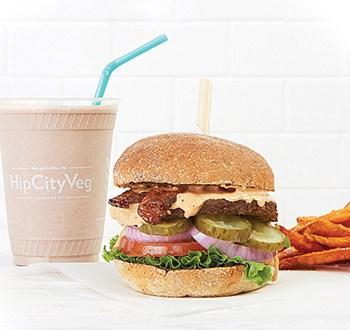Chocolate milkshake, Ziggy burger, and sweet potato fries at HipCityVeg. Photo: HipCityVeg.