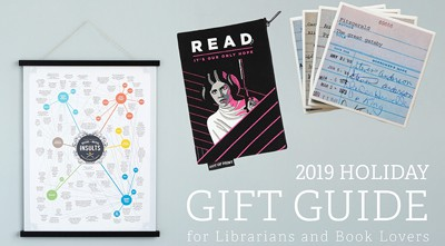 American Libraries' 2019 Holiday Gift Guide for Librarians and Book Lovers, including the Writers vs. Writers Insult Chart, Star Wars Princess Leia READ pouch, and vintage library coasters